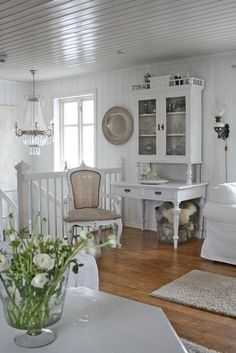 Home tour featured on  eclecticallyvintage.  Features the white decor home of Vibeke Design in Norway.