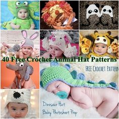 Looking for an animal character hat to crochet this fall? 40 free crochet animal hat free patterns for kids for you to choose from! Crochet Hippo, Crochet Animal Hats, Crochet Kids Hats, Newborn Crochet, Crochet Beanie, Crochet Crafts, Crochet Projects, Free Crochet, Knit Crochet