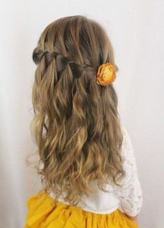 Hairstyle – Tresses : tresse-en-cascade-et-cheveux-legerement-ondules-coiffure-petite-fille-mariage-co Hairstyle Braids: braid-in-cascade-and-hair-slightly-wavy-hairstyle-granddaughter-wedding-co Easy Hairstyles For Long Hair, Little Girl Hairstyles, Cute Hairstyles, Braided Hairstyles, Wedding Hairstyles, Beautiful Hairstyles, Hairstyle Ideas, Medium Hair Styles, Curly Hair Styles