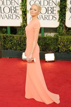 When wearing peach - do it properly. This dress sure gets my 'like'. Calvin Klein