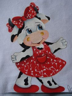 Mão Amiga: Agosto 2013 Kindergarten Christmas Crafts, Easy Christmas Crafts, Tole Painting, Fabric Painting, Farm Crafts, Cute Cows, Cow Art, Applique Patterns, Baby Quilts