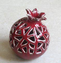 Handmade Ceramic Red VASE POMEGRANATE by ceramicsartdaniel