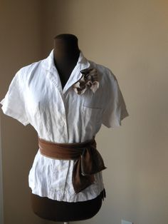 Boho Linen Shirt Jacket Office Fashion Mocha Tattered Shabby Chic Rustic Natural Bespoke Fashion. $40.00, via Etsy.