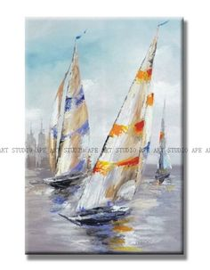 Sailing boats oil painting,sailing ship art,sailing vessel canvas art,junk jalor seascape painting,hand painted on canvas by Ape Art Studio by ApeArtStudio on Etsy