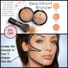 Use Beachfront Bronzers to give your skin that sun kissed look!! Safe for use all over your body! I personally use Hermosa which is the medium/dark of the 3 bronzers. I love the natural glow it gives my skin! I also use as an eye and lip color!