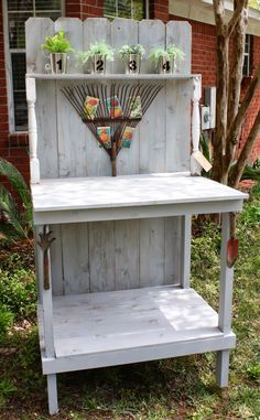 DIY Potting Bench - love the rake