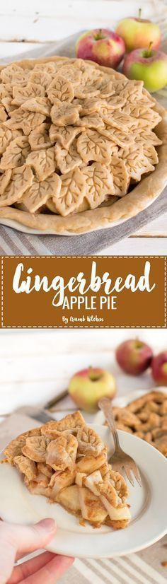 A beautiful hybrid of flaky pie crust and gingerbread flavours, this Fall Gingerbread Apple Pie is bursting with warm apples and spices. | Crumb Kitchen