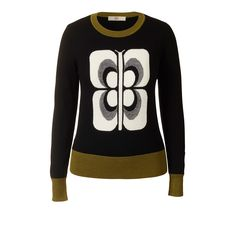 Orla Kiely Flower Check Jacquard Butterfly Intarsia Sweater  Butterfly front intarsia circle neck sweater, with contrast Olive Green or Mustard Yellow neck rib, cuff and waistband.
