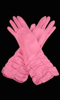 1960's hot pink ruched gloves