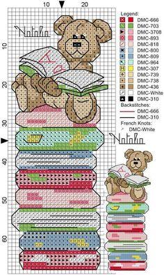 Bear and books cross stitch pattern Cross Stitch Bookmarks, Crochet Bookmarks, Cross Stitch Books, Cross Stitch Needles, Cross Stitch Baby, Cross Stitch Animals, Cross Stitch Charts, Counted Cross Stitch Patterns, Cross Stitch Designs