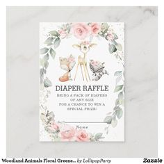 Shop Woodland Animals Floral Greenery Diaper Raffle Enclosure Card created by LollipopParty. Woodland Animals Theme, Forest Animals, Baby Sprinkle Invitations, Shower Invitations, Diaper Raffle, Wedding Website, Baby Boy Shower, Floral Wedding, Cards