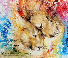 Lion Love painting by Louise Terrier
