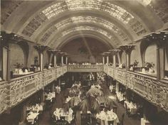 Interior of Cafe Australia at Collins St,Melbourne in Victoria.Designed by Walter Burley Griffin:built 1916 and demolished 🌹 Melbourne Victoria, Victoria Australia, Australian Architecture, Vintage Architecture, Historic Architecture, Historic Houses, Queen Victoria Market, Victoria Building, Famous Buildings