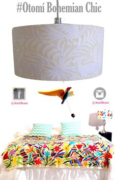 Otomi Pendant white or multicolor. Otomi Chandelier. Otomi ceiling lamp. Lampshade. Unique chandeliers and pendant lamps. by ArteOtomi on Etsy https://www.etsy.com/listing/234556820/otomi-pendant-white-or-multicolor-otomi