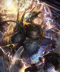 Lightning_Behemoth: There is no place for men on this battlefield. Lightning will strike and tear them asunder. Fantasy Images, Fantasy Art, Lightning Dragon, Medieval, Fantasy Beasts, Online Anime, Fantasy Paintings, Creature Concept, Monster