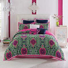 Create a fresh and inviting bedroom with the Brynn Comforter Set. This lovely bed is decorated with a graphic scroll design in classic navy and bright pink with green accents, creating a soft and modern look perfect for relaxing in after a long day. - Bed Bath Beyond