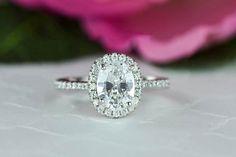1.5 ctw Oval Bridal Ring, Pave Wedding Ring, Man Made Diamond Simulants, Half Eternity Ring, Engagement Ring, Bridal Ring, Sterling Silver