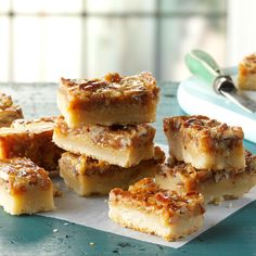 Pecan Pie Bars Recipe -These bars are rich and delicious - just like pecan pie! They're perfect for taking to potlucks and other gatherings...I always come home with an empty pan. —Carolyn Custer, Clifton Park, New York