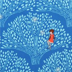 blue tree fabric Michael Miller Tree Lights 1