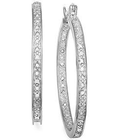 Diamond or silver hoop earrings