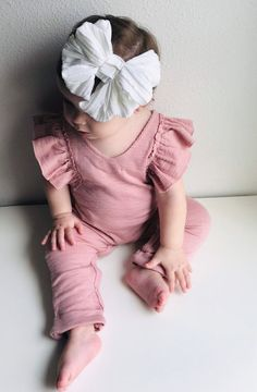 c26fdd059fa3 Baby girl pink jumpsuit baby girl clothes Material  Cotton Blend This pink  little ruffled Romper