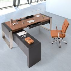 """Eric's Notes: SAVANA EXECUTIVE DESK - I like the desk if it's not a """"metallic wood"""" but rather a veneer and I think the dark is leather? Law Office Design, Office Table Design, Office Furniture Design, Office Interior Design, Office Interiors, Modern Furniture, Executive Office Desk, Modern Office Desk, Modular Office"""