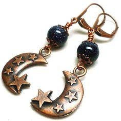 Moon and Stars Blue Goldstone - Copper Hypoallergenic Dangle Earrings | KatsAllThat - Jewelry on ArtFire