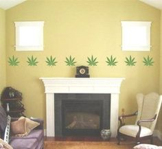 Amazon Com Wall Pattern Decal Weed Marijuana Pot Plant Leaf Vinyl Sticker Room Decoration