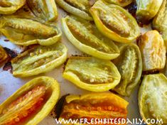 Roasted green tomatoes are not pretty but they'll knock your socks off! Tomato Dishes, Veggie Side Dishes, Vegetable Dishes, Green Tomato Recipes, Vegetable Recipes, Roasted Vegetables, Veggies, Tapenade, Sauces