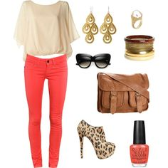 Cream, Coral, and Print :), created by teresa-goyette.polyvore.com