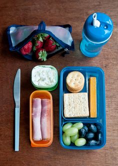 Lunchbox Menu #5: Crackers, ham, cheese, fruit. Think of it as a homemade Lunchables.