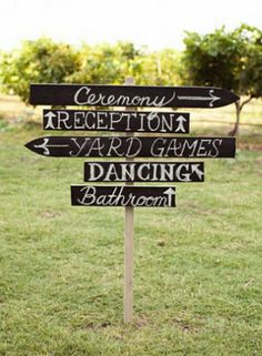 sign for ceremony and reception