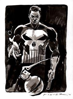 The Punisher : Inktober Day 6, 2016  http://www.aaronminier.com/illust.html http://aaronminier.tumblr.com http://aaronminier.deviantart.com