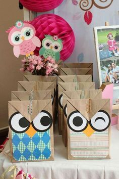 Fun favor bags at an owl birthday party! See more party ideas at… Owl Parties, Owl Birthday Parties, 2nd Birthday, Owl Themed Parties, Birthday Ideas, Birthday Celebration, Owl 1st Birthdays, Owl Crafts, Baby Owls
