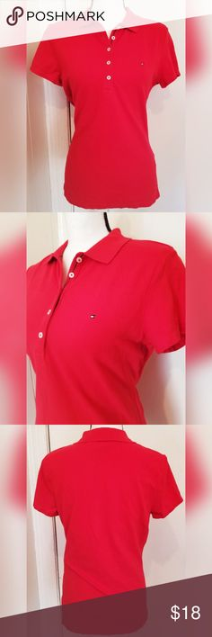 Tommy Hilfiger Red Polo Shirt Collar Logo Spring Tommy Hilfiger polo t shirt.  Women's size large. True to size.  In excellent condition. No flaws noted.  Machine washable. Ready to wear.  From a pet/smoke free home.  Inquire with any questions. Tommy Hilfiger Tops Tees - Short Sleeve