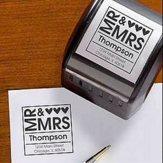 Cute graphic, great idea.    Instead of printing 500+ return address labels for thank yous, invites, save the dates, and replies, get a stamp!