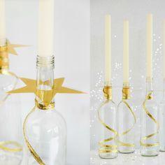Van wijnfles tot kandelaar met een ster-Kerst Diy-