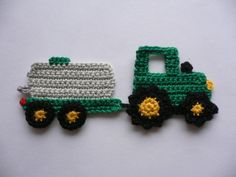 Crochet Patterns Vintage Crochet applications – Tractor with barrel truck – Crochet applique – a designer … Scrap Yarn Crochet, Gilet Crochet, Knit Or Crochet, Crochet Stitches, Free Crochet, Crochet Applique Patterns Free, Crotchet Patterns, Knitting Patterns, Vintage Crochet