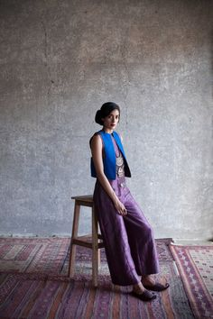 payalkhandwala - AW/2015 - Silk Reversible Waistcoat and Brocade Jumpsuit
