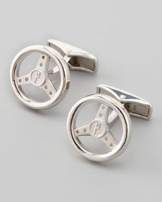 Silver Steering Wheel Cuff Links by Alfred Dunhill at Neiman Marcus.