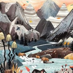 Balade dans les Alpes @sandradieckmann ✨🏔 «The french alps, I visited in October last year, have been a huge inspiration for my second picture book. Down in the valley ...».#mountains #alps #illustrationart #alpes #inspiration #picturebook  #childrensbook #landscape #mixedmedia #illustration #illustrator #sandradieckmann