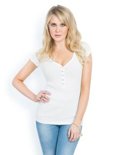 GUESS Sophia Cap-Sleeve T Shirt Henley, White