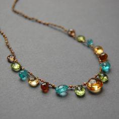 Citrine Apatite Peridot Andalusite Garnet and Pearl Hand Goth Jewelry, Gemstone Jewelry, Beaded Jewelry, Jewelry Necklaces, Jewellery, Jewelry Knots, Jewelry Crafts, Fine Jewelry, Jewelry Making