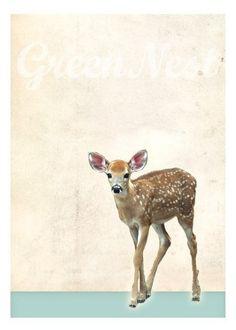 Neu A3 Format - Reh Poster von VintagePaperGoods - GreenNest auf DaWanda.com