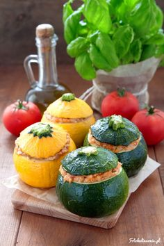 Zucchini Stuffed with Millet, Tomato and Feta Cheese.