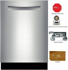 "Bosch 800 Plus Series SHP7PT55UC 24"" Flush Handle Dishwasher with 16 Place Setting Capacity, Touch Controls Technology, Water Softener, Ultraquiet 42 dBA Operation, and Flexible 3rd Rack in Stainless Steel  Consumer Reports Best Buy"