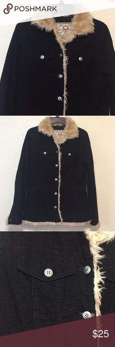Roxy Vintage Fur Trimmed Quilted Jacket Extremely warm corduroy jacket with faux fur trim. Quilted inside material. Two front upper and lower pockets. Top are buttoned. Top button of Coat is loose but can easily be sewn. Roxy Jackets & Coats