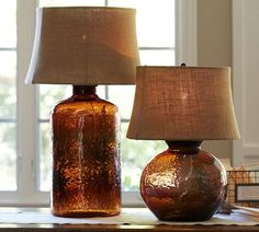 Perfect lamps... need to start saving pennies, lol! Clift Glass Table Lamp Base - Espresso | Pottery Barn