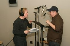 Director Brad Bird and story artist Peter Sohn, as the voice of Emile, work during a recording session for Ratatouille. Brad Bird, Ratatouille, Pixar, The Voice, Disney, Artist, People, Pixar Characters, Artists