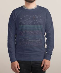 LINEAR LANDSCAPE$39 $34 French Terry Crew Sweatshirt Design by Rick Cranehttps://www.threadless.com/product/5494/Linear_Landscape/tab,guys/style,longsleeve